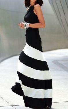 Black Maxi Dresses Striped Women 2015