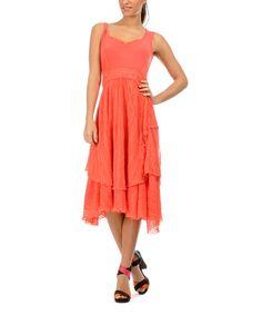 Look what I found on #zulily! Coral Tiered Sleeveless Dress #zulilyfinds