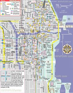 free inner city Magnificent Mile shopping malls main landmarks great sights famous buildings historic spots Chicago top tourist attractions map