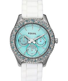 Blue and white Fossil watch