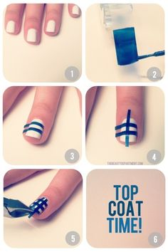 Gingham/Plaid Nails-Top 10 Diy Nail Art Designs With Scotch Tape!