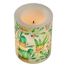 Cactus and succulents pattern flameless candle