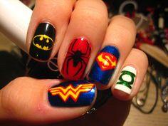 Of Makeup Nails Art Nailart 19 Marvel Nails, Batman Nails, Fancy Nails, Cute Nails, Pretty Nails, Beautiful Nail Designs, Cool Nail Designs, Comic Nail Art, Superhero Nails
