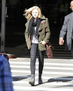Chloe Grace Moretz Pea Coat - Chloe Moretz hit the airport in a military green pea coat and a thin black scarf.