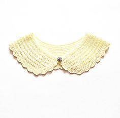 Hand Knit Peter Pan collar. Lacy crochet collar. Yellow, lemon
