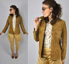 Leather WESTERN Shirt Jacket Cowgirl Ranch Wear by ItaLaVintage