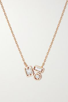 Suzanne Kalan's necklace is centered with a princess, baguette and round-cut diamond in the house's new 'Inlay' setting - the bezel-set stones are secured by thin prongs for added interest. The delicate chain is cast from 18-karat rose gold and can be adjusted to your desired drop. Layer yours with similar styles. -- Princess-cut G diamonds, total weight: 0.09-carats; baguette-cut G diamonds, total weight: 0.06-carats; round-cut G diamonds, total weight: 0.03-carats - Comes in a… Diamond Solitaire Necklace, Diamond Jewelry, Diamond Necklace Simple, Rose Necklace, Gold Pendant Necklace, Fancy Jewellery, Silver Rings Handmade, Fashion Necklace, Princess Cut