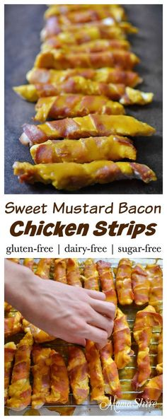 These sweet mustard bacon chicken strips are sugar free and are perfect for dinner or as an appetizer. These are Trim Healthy Mama friendly! THM-FP