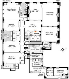 Typical floor plan for 630 Park Avenue, New York | Architectural ...