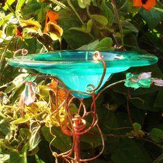 DRAGONFLIES Stained Glass BUTTERFLY and BIRD Feeder Suncatcher, copper, Emerald Green, Garden. $38.00, via Etsy.