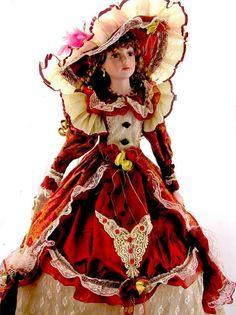 """PORCELAIN UMBRELLA DOLL 38"""" TALL VICTORIAN STYLE RED DRESS"""