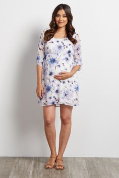 You can never have enough chiffon in your closet, so make sure to add this beauty to your wardrobe! A floral print and cinching under the bust will show off your growing belly from one occasion to the next, while a lightweight chiffon material keeps you cool. Dress it up with wedges or keep it casual with flats.