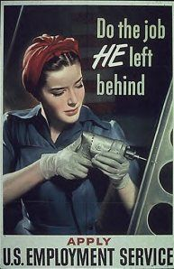 During World War Two, Women had to pick up the jobs men left behind while fighting in the war. Women picked up the much needed slack while the men were unable to continue there duties. Without the women working, the war could not have been won without the contribution of the women due to the supplies made to help the war. This photo is encouraging women to sign up to take the jobs of men.