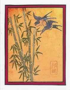 Art Neko Rubber Art Stamps: Hokusai Swallows