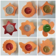 Floating Diwali candles made from glitter foam sheets
