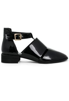 Rome Glossy Black Ankle Strap Shoes $50