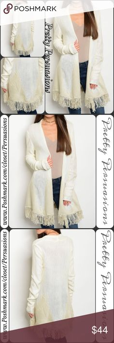 "NWT Fringe Hem Open Front Slouchy Cozy Cardigan Available in S, M, L Measurements taken from a small  Length: 33"" Bust: 40"" Waist: 44""  Acrylic   Flirty fringe falls from the bottom of this soft open cardigan, adding a bit of boho chic to your cool-weather layered looks.  Features  • ivory & taupe angled color blocked pattern  • fringe hemline  • long sleeves • slouchy cozy warm material • open front  Bundle discounts available  No pp or trades  Item # 1/1011230440ITFC knit slouchy oversized…"
