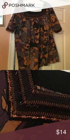 Multi colored top with beading trim S 22-24 Bugle bead trim around collar and sleeve.  3/4 button sleeve,  loose fitting, multi colors(black, gold, tan and burgundy Lane Bryant Tops Blouses