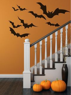 Halloween Decor, Fall Decorations, Halloween Decorations! Bat Decal Set Bat Wall Stickers  by AmandasDesignDecals