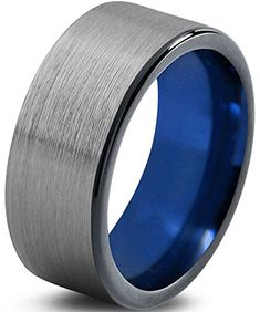 Chroma Color Collection Tungsten Wedding Band Ring 10mm for Men Women Blue Red Green Purple Black Flat Brushed Polished