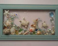 8 x 10 Whimsical Mermaid in Wave Sea Glass Art Frame Sea Crafts, Sea Glass Crafts, Sea Glass Art, Resin Crafts, Resin Art, Jewelry Crafts, Jewelry Art, Stained Glass, Seashell Art