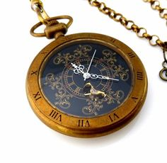 The Ancient Sorcerer - Skeleton Pocket Watch on a Pocket Watch Chain by agnes
