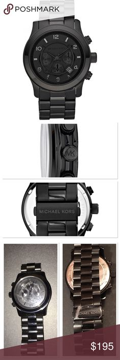 New Michael Kors Runway black men's watch Authentic brand new in box Michael Kors Runway black men's Ion plated stainless steel watch 45mm . MK 8157. Great gift for the holidays. The first pics are stock photos watch truly looks like the stock photos my pics do not due justice to this watch. Truly gorgeous watch.Box has some black missing on upper corner see pic. 45mm. Black dial with circular metal ring, logo, date window, three hands. numerals, three subdials. Quartz movement. Water…