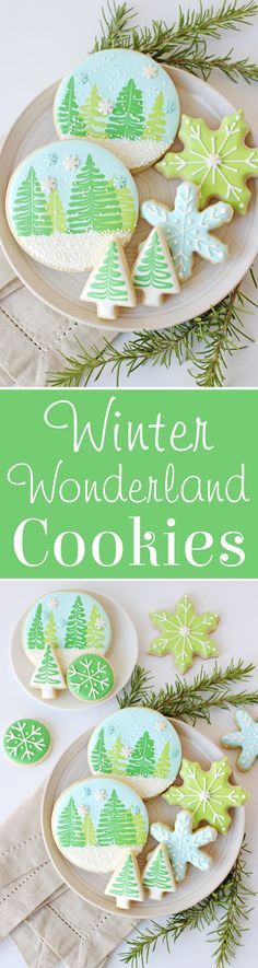Winter Wonderland Decorated Cookies - With Video Tutorial! Use Dolcedi to sweeten your cookies! Christmas Sugar Cookies, Christmas Sweets, Christmas Cooking, Noel Christmas, Holiday Cookies, Holiday Treats, Holiday Recipes, Galletas Cookies, Iced Cookies