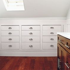 drawers in the useless attic space
