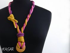 hand knitted, yarn, icord necklace, wooden bead, yellow, pink, purple, statement necklace on Etsy, $30.00