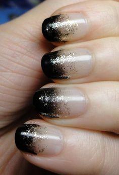 ombre-nagel-design-glitzerpartikel-schwarz-weiß