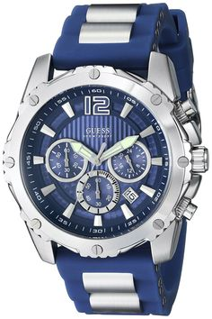 Define Your Time with this GUESS Sporty Chronograph Watch in Blue Silicone with Metal Strap, a Bold Move & that's Unisex, a Perfect Hybrid for Him or Her Guess Watches is a timekeeping accessory compa