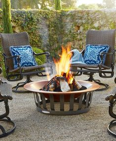 "Our estate-quality 40"" Medallion Copper Fire Pit is stylish and made to resist outdoor elements year-round. The gleaming, heavy gauge copper basin is rigorously safety tested to withstand extreme heat and weather. A sturdy iron grate sits between the lip and bottom to ensure a well ventilated fire. It's perfect for sharing outdoor evenings with family and friends."