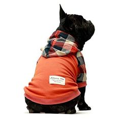 Fitwarm 100% Cotton Plaid Dog Clothes Lightweight Puppy Hoodie Pet Sweatshirt Doggie Hooded Outfits Cat Apparel Made of 100% cotton. Breathable and stretchy, super friendly to sensitive skin. Lightweight and soft, thermal comfortable design with hood, keep your pet warm and comfortable in cold weather days. Fashion and simple dog clothes with classic design, perfect for family photos, parties, holidays, and daily wear. Make your pet stand out and becomes more attractive and dynamic in the crowd. Dog Hoodie, Dog Shirt, Dog Hair Bows, Sleeveless Outfit, Dog Boots, Pullover Designs, Large Dog Breeds, Dog Dresses, Dog Supplies