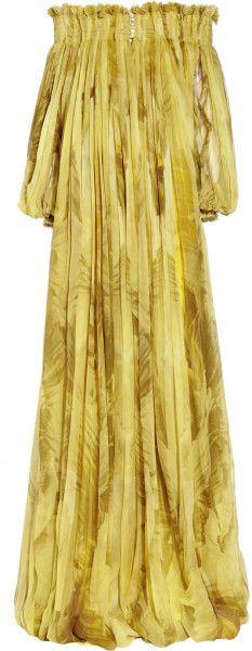Alexander  McQueen  Printed Silk-chiffon Gown @Lyst