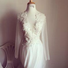Custom Wedding Gown-Deep V neck Wedding Dress-long sleeves boat neck lace dress on Etsy, $1,800.00