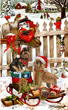 """New for 2013! Brussels Griffon Christmas Holiday Cards are 8 1/2"""" x 5 1/2"""" and come in packages of 12 cards. One design per package. All designs include envelopes, your personal message, and choice of greeting.Select the inside greeting of your choice from the menu below.Add your custom personal message to the Comments box during checkout."""