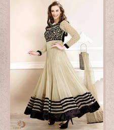 Buy Cream embroidered Georgette semi stitched salwar with dupatta anarkali-salwar-kameez online