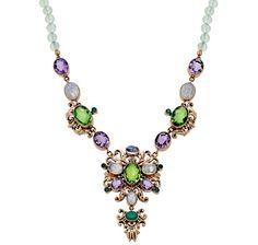 Nicky Butler Multi Gemstone Filigree Drop Necklace - PREHNITE