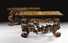 A pair of Italian ivory, stained horn & pewter-inlaid ebony rosewood, walnut, fruitwood & marquetry console tables, the tops signed by Lucio de Lucci, the stained boxwood bases attributed to Andrea Brustolon (1662-1732), Venetian, each 90cm. high, 171.5cm. wide, 87cm. deep; 2ft. 11½in., 5ft. 7½in., 2ft. 9¾in.