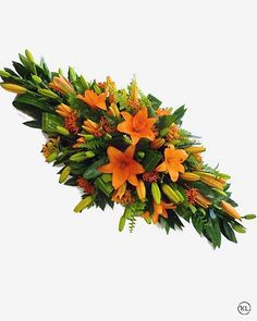 Asiatic lily and seasonal orange flowers form an exceptional double ended spray. Basket Flower Arrangements, Funeral Floral Arrangements, Tropical Floral Arrangements, Ikebana Arrangements, Beautiful Flower Arrangements, Flower Centerpieces, Casket Flowers, Grave Flowers, Church Flowers