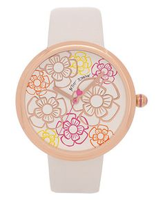 Betsey Johnson Watch, Women's White Leather Strap 36mm BJ00039-12 - Women's Watches - Jewelry & Watches - Macy's