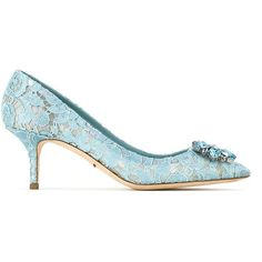 Dolce & Gabbana Pump in Taormina lace with crystals (1,120 CAD) ❤ liked on Polyvore featuring shoes, pumps, blue, short heel pumps, blue pointed toe pumps, pointed toe shoes, blue low heel pumps and pointed-toe pumps