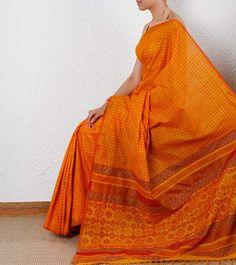 Orange #Ethnic #Saree
