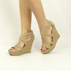 Strappy Open Toe Wedges - Beige (more colors) wow on sale for under 30