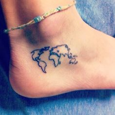 This is one of our favorites. It says so much with just a small amount of ink. It suggests that the owner is a woman who appreciates travel and other cultures, and the placement on her foot implies she plans to trek around the world. Tiny but to the point. Beautiful.