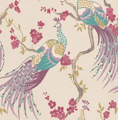 Indira Damson (W0019/03) - Clarke & Clarke Wallpapers - Beautiful peacocks sitting in a pretty blossom tree with a vibrant use of colour. Showing in bright pink, purple, blue and green on a off white background - other colour ways available. Please request a sample. Paste-the-wall product.