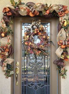 Decorate your front door with this 10 Custom Fall Garland and WREATH made with deco mesh and burlap wired ribbon and fall florals. Fall Garland, Fall Wreaths, Burlap Garland, Leaf Garland, Rustic Fall Decor, Fall Home Decor, Autumn Decorating, Porch Decorating, Decorating Ideas