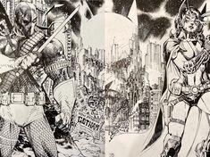 Deathstroke & Huntress By Jim Lee Jim Lee Superman, Jim Lee Art, Comic Frame, Comics Illustration, Dc Comics Art, Batman Comics, Batman The Dark Knight, Black White Art, Deathstroke