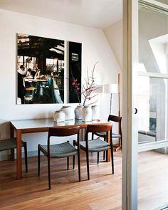 wood floor - danish table & chairs